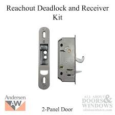 full image for andersen reachout deadlock and receiver assembly kit 2 panel frenchwood gliding door 2006