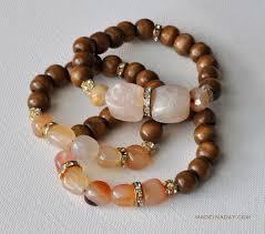 wood stone gold glass bead bracelet madeinaday com