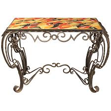 French Deco Inspired Fer Forge Console Table in the Manner of ...