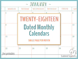 mothly calendar 2018 dated monthly calendars single page edition