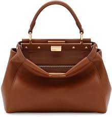 fendi kaboo mini leather satchel bag brown