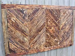 custom made chevron wood wall art made from reclaimed pallet wood queen headboard
