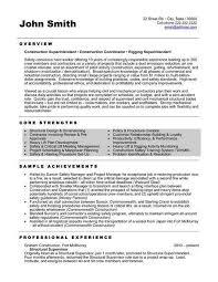 Building Superintendent Resume Examples Resume Sample