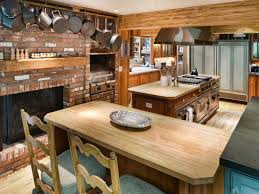 Kitchen Fireplace For Cooking Brick Wall Country Kitchen Brick Fireplace Natural Varnished