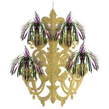 mardi gras green purple and gold foil firework chandelier decoration