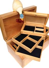 jewellery box with integrated travel case handmade customise in wood interior clic digby