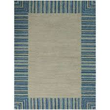 pizazz blue striped border 8 ft x 10 ft indoor outdoor area rug