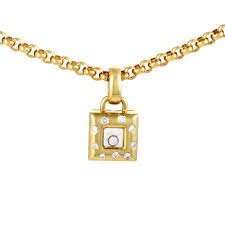chopard happy diamonds yellow gold square pendant necklace for