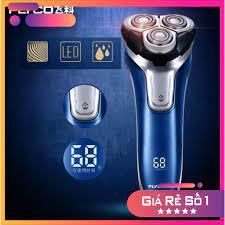 GIÁ RẺ Máy cạo râu 3 lưỡi FLYCO FS375, dao cạo râu chống nước, có đèn LED  hiển thị phần trăm pin (màu xanh nước biển) V