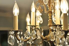 antique brass and crystal chandelier pieces