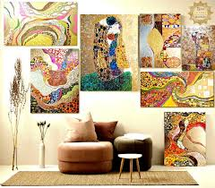 set of colorful paintings set of wall