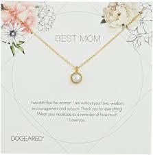 dogeared best mom flower card large bezel pearl pendant chain neckalce gold 16 2 extension souq uae