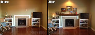 Before and after photo of a fireplace area with a new DIY mantel installed  by the
