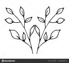 веточки эскиз эскиз тонкие ветки с листьями векторное