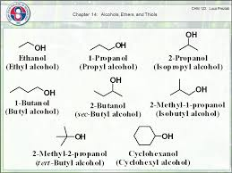 Chapter 14 Alcohols Ethers And Thiols Alcohol Oh Hydroxyl Group