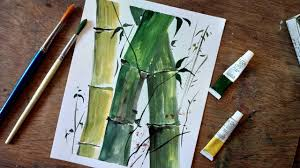 how to paint bamboo tree in watercolor paint with david painting tutorial for beginners