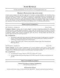 Property Management Resume Samples Property Manager Objective Under Fontanacountryinn Com