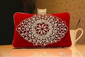 fashion las bridal hand bags crystal rhinestone designer red black flowers sn metal evening clutch bag shoulder makeup kit box purse women clutch bag