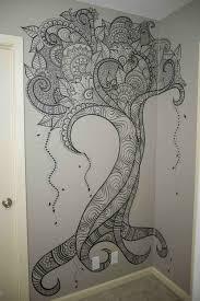 Henna Wall Designs Wall Zentangle Wall Drawing Mural Art Metal Tree Wall Art