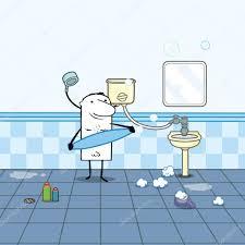 Cartoon man in a bathroom with shower — Stock Vector ...