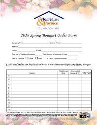 2018 Spring Bouquet Sale Printable Order Form – Homecare & Hospice