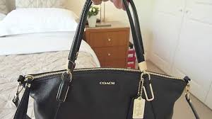 COACH Small Kelsey Satchel Bag Black Leather Handbag Cross body Purse -  YouTube