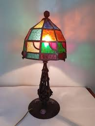 antique wrought iron stained glass lamp by augustin louis calmels