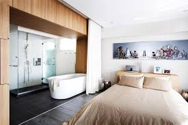 master bedroom with open bathroom. Open-Concept Bathroom For Master Suite A New Trend Bedroom With Open O