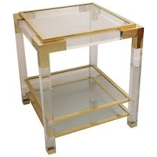 vintage lucite glass and brass end table at stdibs