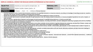 Chemical Operator Resume Chemical Operator Cv Resume 9303