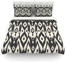 amanda lane black cream tribal ikat duvet cover tan dark twin