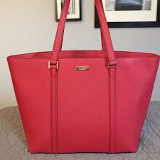 kate spade large red saffiano leather tote