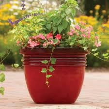 better homes and gardens ay decorative outdoor planter red sedona 16 com