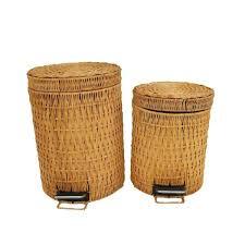 rattan trash can handwoven big cc home limited outdoor wicker costco