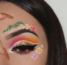 makeup art and flowers image
