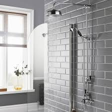hudson reed topaz dual exposed mixer shower with shower kit fixed head black
