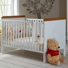 obaby disney winnie the pooh deluxe cot bed white with pine trim