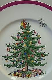 christmas tree pattern with crimson band late 1930s spode christmas tree china50