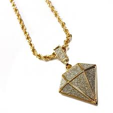 diamond shape pendant necklace with 24 rope chain