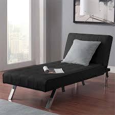 faux leather chaise lounge in black