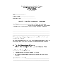 Legal Agreement Template For Child Custody Custody Agreement ...