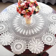 vintage look crocheted tablecloth 36 inches round