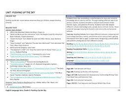 Rl 4 1 Anchor Chart Unit Plan Ela Grade 4 Sample Pushing Up The Sky Pages