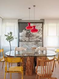 delectable red dining room