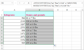 Kilos To Stone And Lbs Chart How To Convert Kilograms To Stones And Pounds In Excel