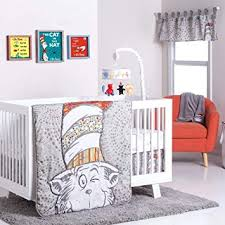 4 piece baby grey red dr seuss cat in the hat crib bedding set newborn white cartoon characters nursery bed set childrens books iconic stories stripe