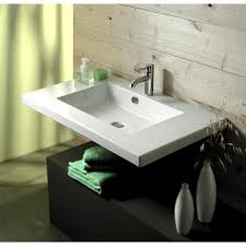 bathroom sink tecla mar02016 rectangular white ceramic wall mounted or drop in sink
