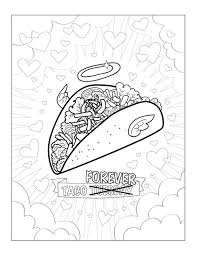 Funny Taco Printable Pdf Adult Coloring Sheet Funny Coloring Art
