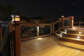 outside deck lighting. deck led lights white contemporary style lighting featuring dekor post caps glass panels and outside k