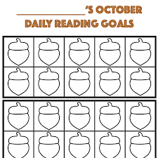Reading Sticker Chart October Daily Reading Goals Reward Chart Sensory Sun